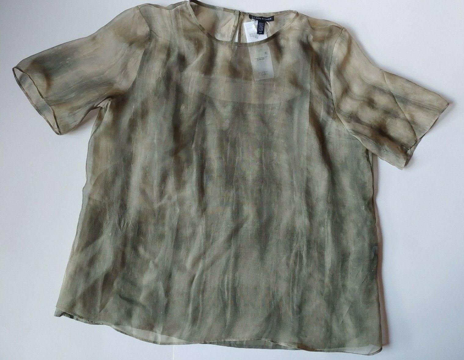 Eileen Fisher Sheer Silk Shibori Round Neck Short Sleeve Top Oregano Small