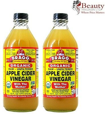 2 Bottles of Bragg Apple Cider Vinegar (2x473=946ml) Raw Unfiltered with Mother