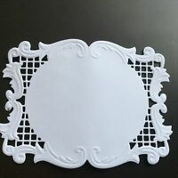 8 White  FRAMES Lacey Die Cut & EMBOSSED Card Toppers, ideal Magnolia Stamps