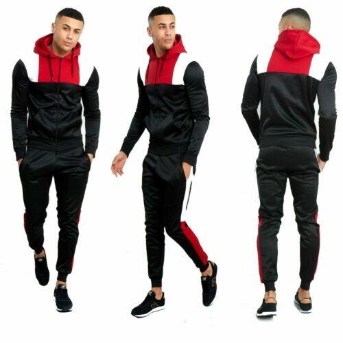 New Men Scuba Polyester Tracksuit Set Dual Colour Cord Hoodie Top Bottoms Set