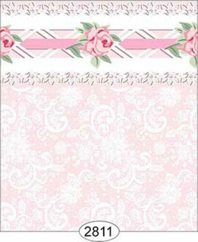 Pink Daniella Lace Dollhouse 1:12 Scale Wallpaper