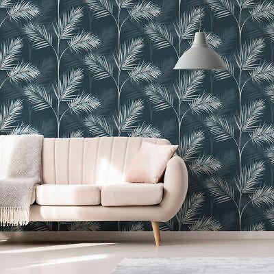 Fine Decor South Beach Palm Leaf Wallpaper Navy Blue Fd42681 Ebay