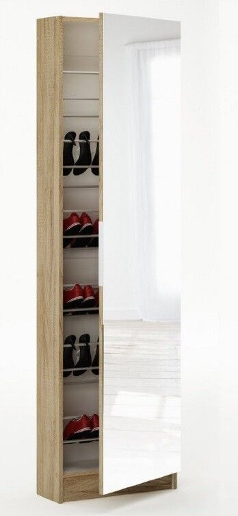 Tall Shoe Hallway Cabinet Mirrored 6ft