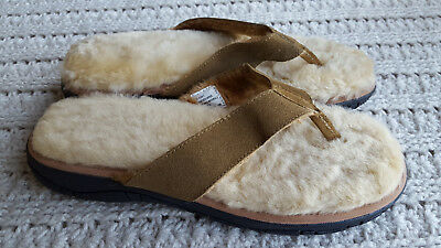 Men Genuine Shearling Suede Leather Slippers Flip-Flops Big Size KingSize Brown