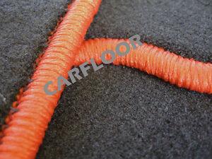Mitsubishi-Grandis-ab-03-04-Fussmatten-Velours-schwarz-mit-Rand-orange