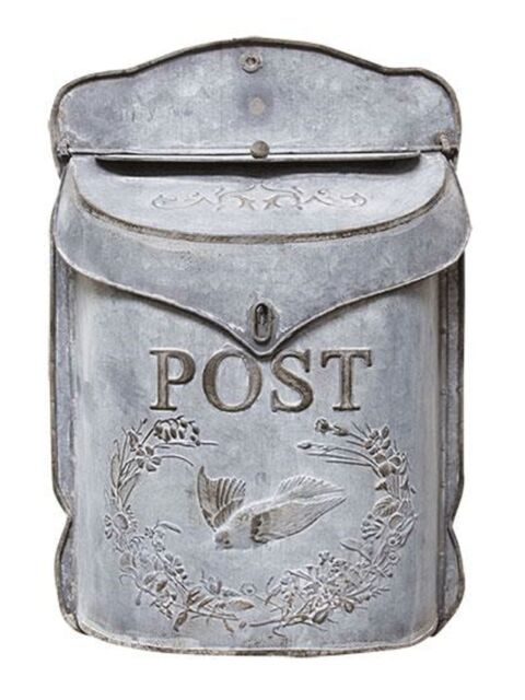 Vintage Chic Shabby Cottage Metal Mail box~Letter Holder Wall Mount French Post