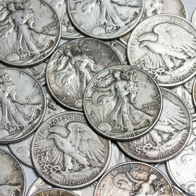 $10 FV Unsearched Bank Coin Roll Walking Liberty 90/% Silver Half Dollar 1