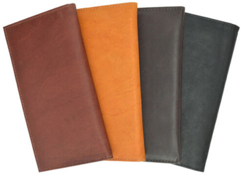 Fine Genuine Leather Thin Checkbook Cover Card ID Holder Plain Wallet US SELLER
