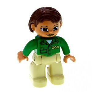 1x-Lego-Duplo-Figur-Frau-Mutter-Hose-beige-Jacke-gruen-Haare-braun-Zoo-47394pb144