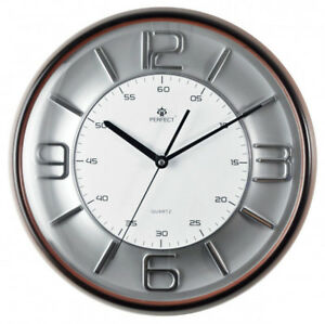 PERFECT-Large-Stylish-Wall-Clock-Brown-Frame-Silver-and-White-Face-H-Q