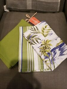 Details about Tommy Bahama Kitchen Towels Set of 3 Island Retreat Stripe  Plain NWT