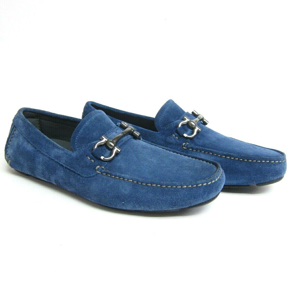 P-872234 Neu Salvatore Ferragamo Parigi Hellblau Wildleder Schuhe Slipper US