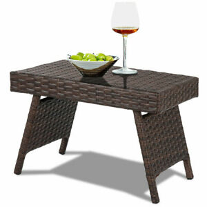 Etonnant Details About Folding PE Rattan Side Coffee Table Patio Garden Outdoor  Furniture Brown NEW