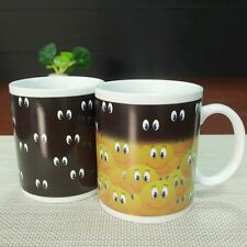 New Magic Coffee Heat Sensitive Mug Eyes Color Changing Smiley Faces Design Cup