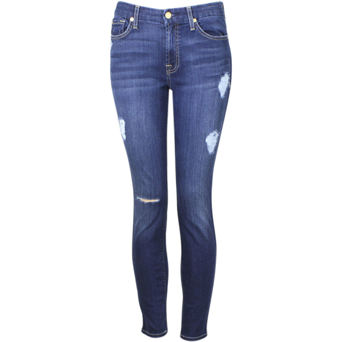 7 For All Mankind (B)Air Denim Ankle Skinny Destroy Duchess Cropped Jeans