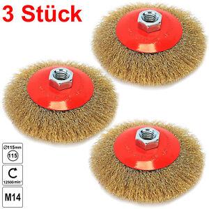 Scheibenbürste Drahtbürste Zopfbürste 115 mm Kegelbürste M14 für Winkelschleifer