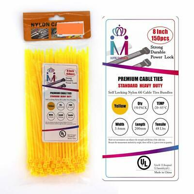Nylon Plastic Zip Cable Ties 48 lbs with Self-Locking Zip Ties  300 Pcs 8 inch