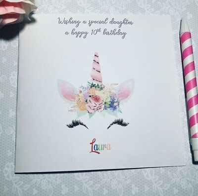 Unicorn Birthday girl card handmade and personalised 3rd//4th//5th teens-adults