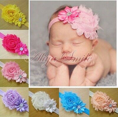 10PCS Kid Girl Baby Toddler Infant Flower Headband Hair Bow Band Accessories New