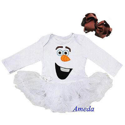 Baby Olaf Snowman White Bodysuit Pettiskirt Romper Tutu Brown Bow Party Dress