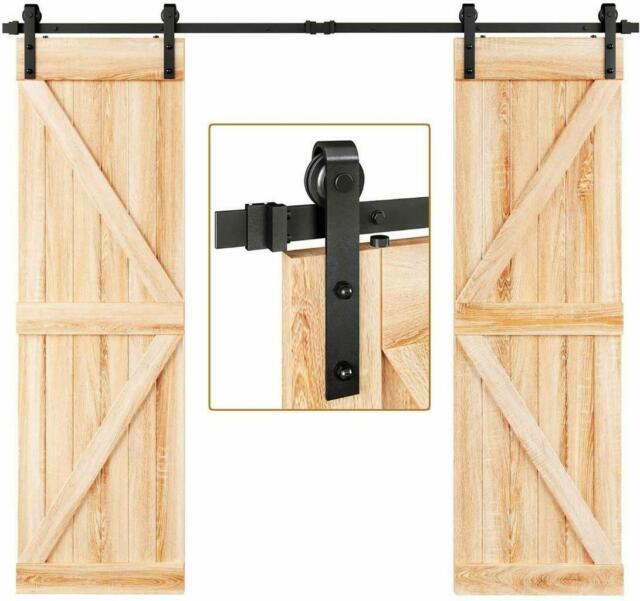12FT Bypass Sliding Barn Door Hardware Kit Industrial Round Wheel Closet Interior Carbon Steel Barn Door Hanging Rail