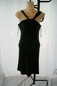 STUNNING-ELIE-TAHARI-TWISTED-FRONT-SILK-BLACK-DRESS-SIZE-4-DR500