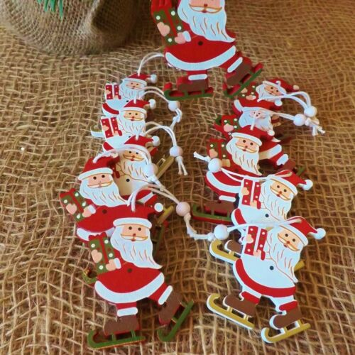 Set 12 Wooden Red White Christmas Tree Decorations Ice Skating Santa or Snowman
