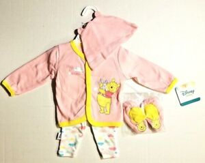 DISNEY-WINNIE-THE-POOH-INFANT-BABY-GIRL-4-PC-OUTFIT-0-3-3-6-6-9-M-PINK-FAST-SHIP