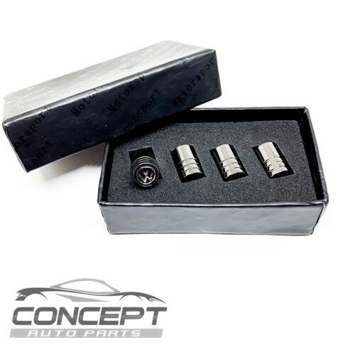 VW Satin Black Dust Caps Valve Covers Wheel Set x4 Volkswagen Gift Box