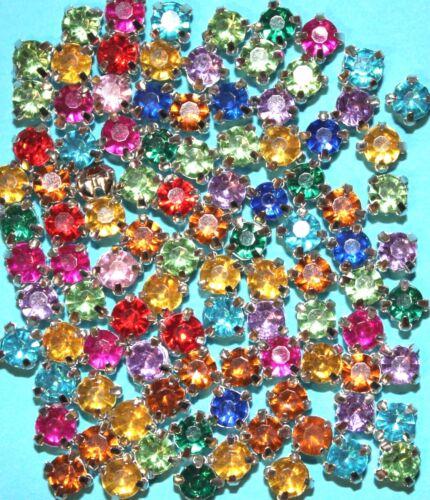 0,07 €//STK 100 pedrería-piedras versión 4 mm claramente multicolor suturar aufnähen acrílico metal