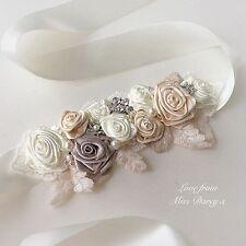 Bridal Sash Belt Waistband Ribbon Roses Ivory Champagne Diamante Wedding Brides