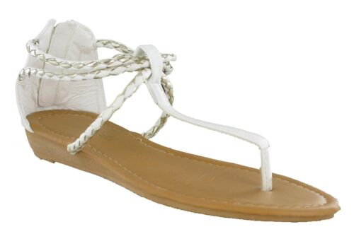 Toe Post Strappy Flat Buckle Beach Holiday Summer Womens Lightweight Sandals