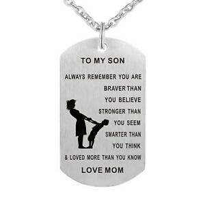To my son dog tag necklace personalized mom pendant mens jewelry to my son dog tag necklace personalized mom pendant mens jewelry love gifts aloadofball Gallery