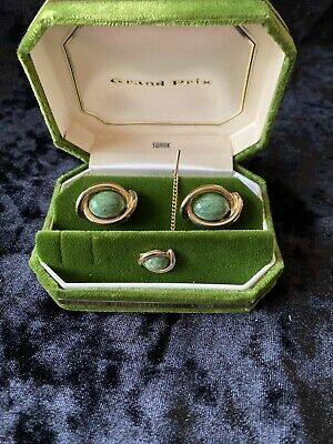 Vintage LaMode Brand Golden Oval Cufflinks and Tie Tack with Jade Cabochon Centers.