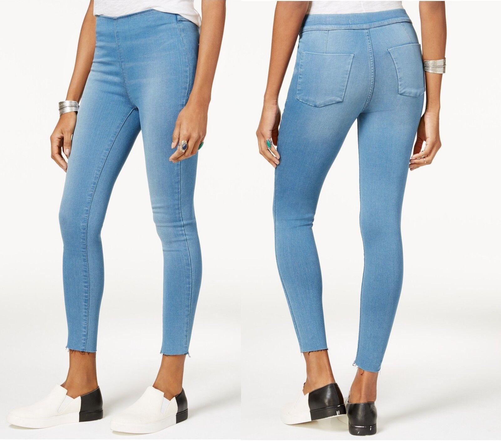 FREE PEOPLE Womens Easy Goes Jeggings Skinny Jeans High Waist Legging L bluee