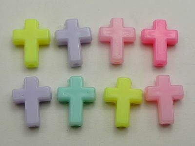 100 Mixed Pastel Color Acrylic Cross Beads Charms 16X12mm