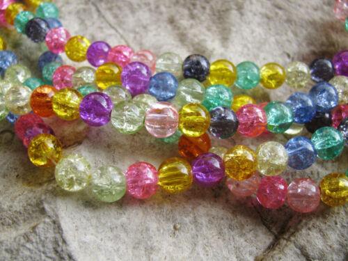 20 Glasperlen gecrackt bunt  gemischt, 8 mm, Perlen basteln, Schmuck herstellen