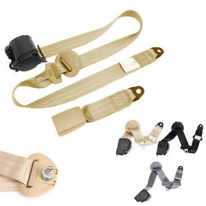 Car-3-Point-Seat-Belts-Extension-Buckle-Kit-Heavy-duty-Nylon-Beige-Retractable