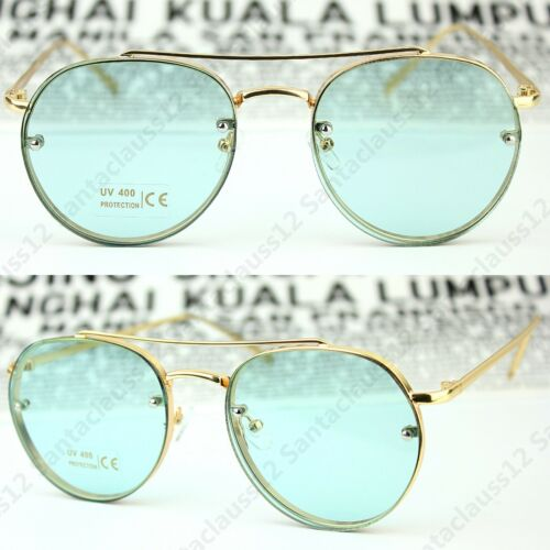 Oval Round Tinted Transparent Lens Womens Mens Sunglasses UV400 Retro Vintage