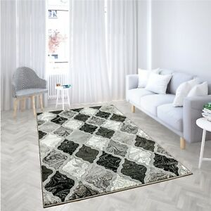 BLACK-GREY-MODERN-HARLEQUIN-DESIGN-SOFT-PILE-HARD-WEARING-RUG-CARPET-MAT-RUNNER