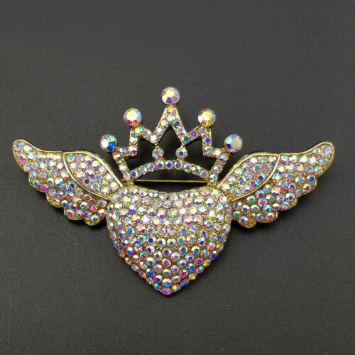 Fashion Sparkly Rhinestone Gold plated Jewelry heart with angel wing Brooch Pin