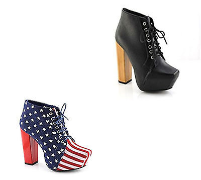 NEW WOMENS TWO COLOURS STARS AND STRIP BLACK LACE UP BLOCK HEELS BOOTS SIZE 3-8