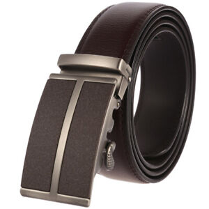Leisure-Men-039-s-Real-Leather-Belt-Automatic-Buckle-Ratchet-Waist-Strap-Gift-Jeans