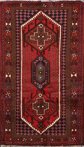 Geometric-South-western-Red-3x5-ft-Hamedan-Area-Rug-Wool-Hand-knotted-Carpet