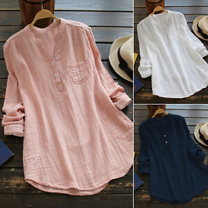 Womens-V-Neck-Baggy-Loose-Cotton-Tops-T-Shirt-Plus-Size-Long-Sleeve-Tunic-Blouse