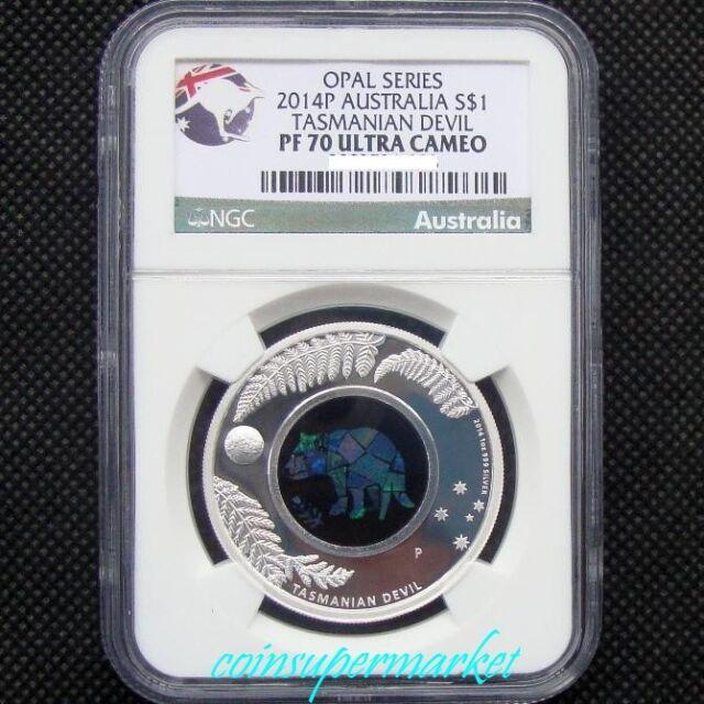 2014 Australia Opal Series #5 Tasmanian Devil 1oz Silver Proof  Coin NGC PF70 UC