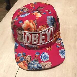 Image is loading Obey-Propaganda-Pink-Floral-Flowers-Vintage-Snapback-Hat- b6acbcbcbe7b