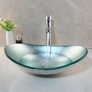 Us Modern Chrome Tempered Glass Vessel Sink Waterfall Faucet Combo Set Ebay