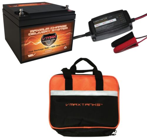 VMAX 800S CASE 12V 28Ah AGM DEEP CYCLE 12 VOLT BATTERY BC1204 3.3A CHARGER