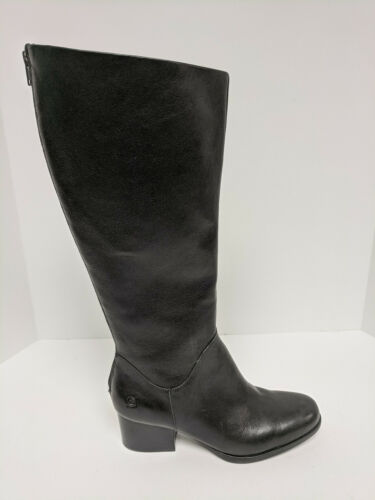Born Womens Elsa Leather Knee High Riding Boots Stacked Heels Black 8.5M New